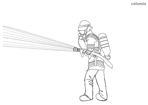 Firefighter with water hose coloring page