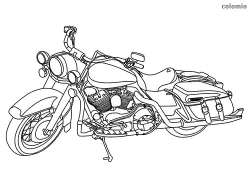Dibujo de Motocicleta custom para colorear
