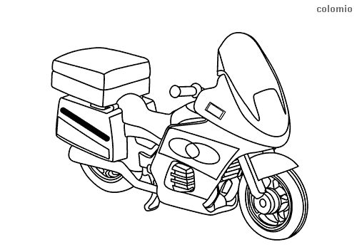 Simple police motorcycle coloring page