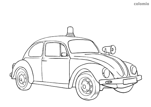 Classic german police car 50s coloring page