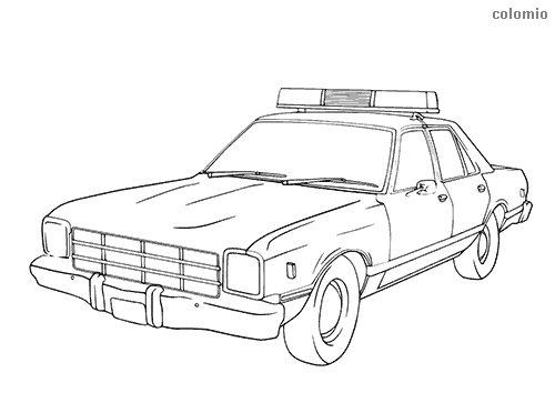 Classic police car 60s coloring page