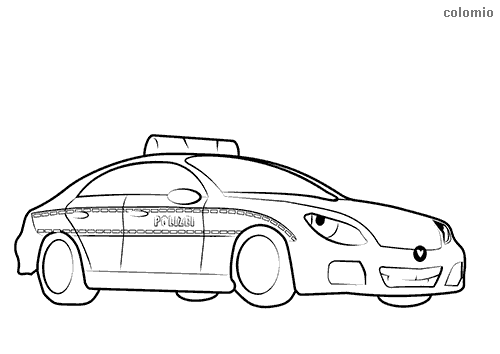 Funny police car with face coloring page