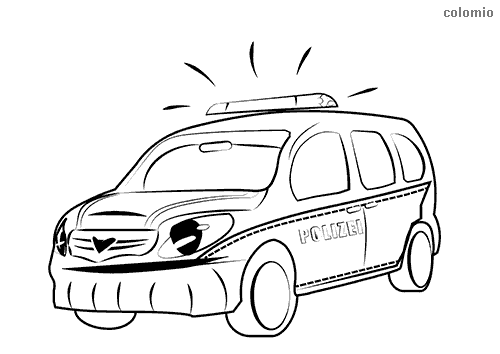 Funny police transporter with face coloring page