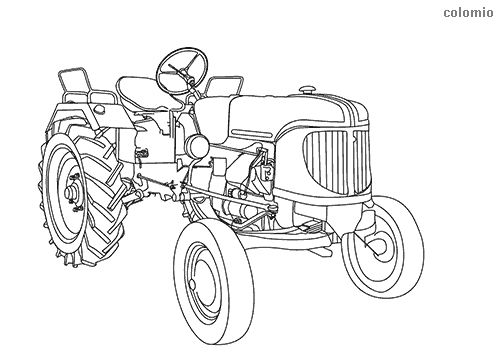 Old tractor coloring page