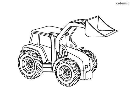 dibujo para colorear de tractor con pala
