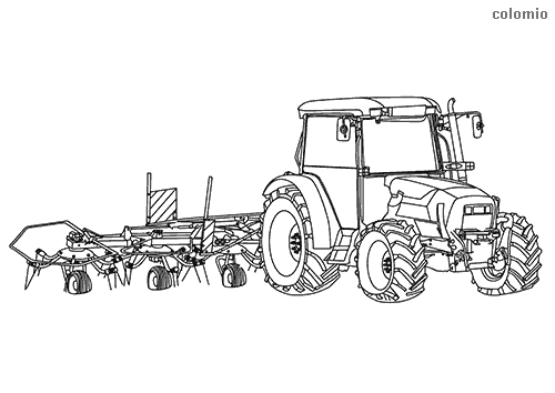 Tractor with hay tedder coloring page