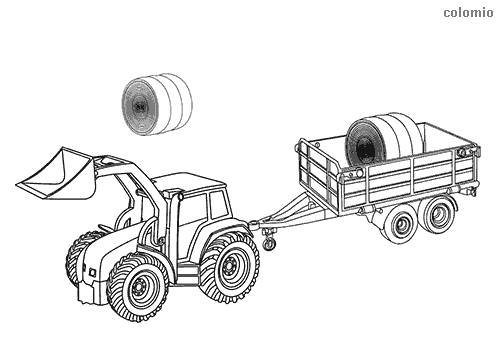 Tractor with trailer and hay coloring page