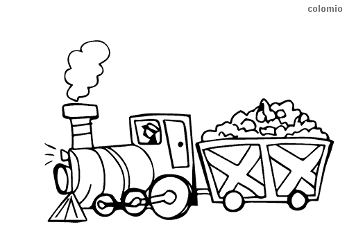 Easy locomotive coloring page