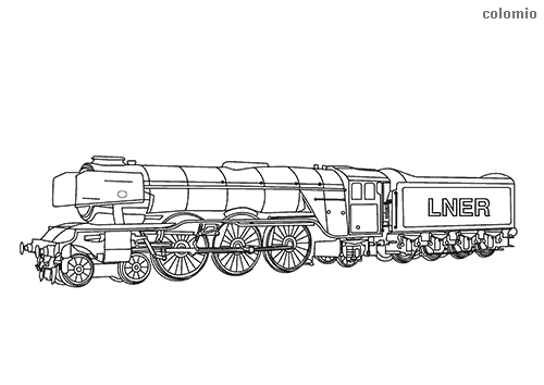 Dibujo para colorear de Tren de pasajeros Flying Scotsman