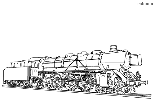 Old steam locomotive coloring page