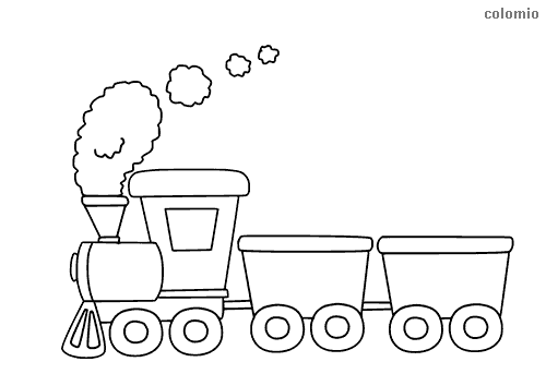 Simple steam engine train with cars coloring page