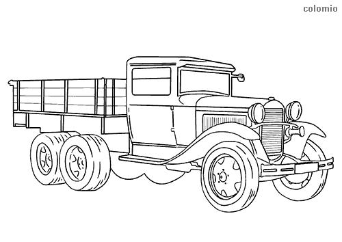 Dibujo de Camión clásico de tres ejes para colorear