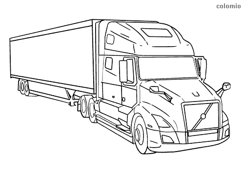 Semi truck with trailer coloring page