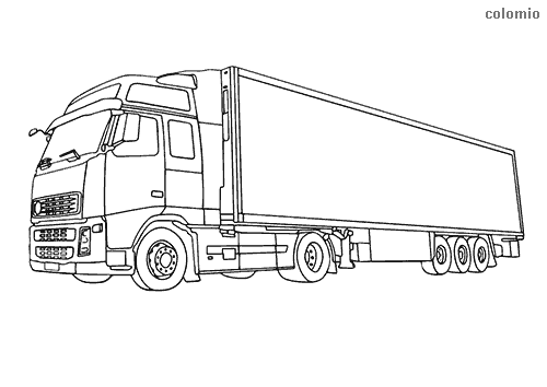 Tractor-trailer coloring sheet